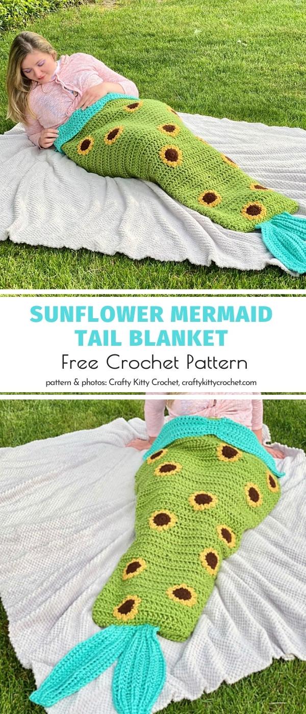 Sunflower Mermaid Tail Blanket