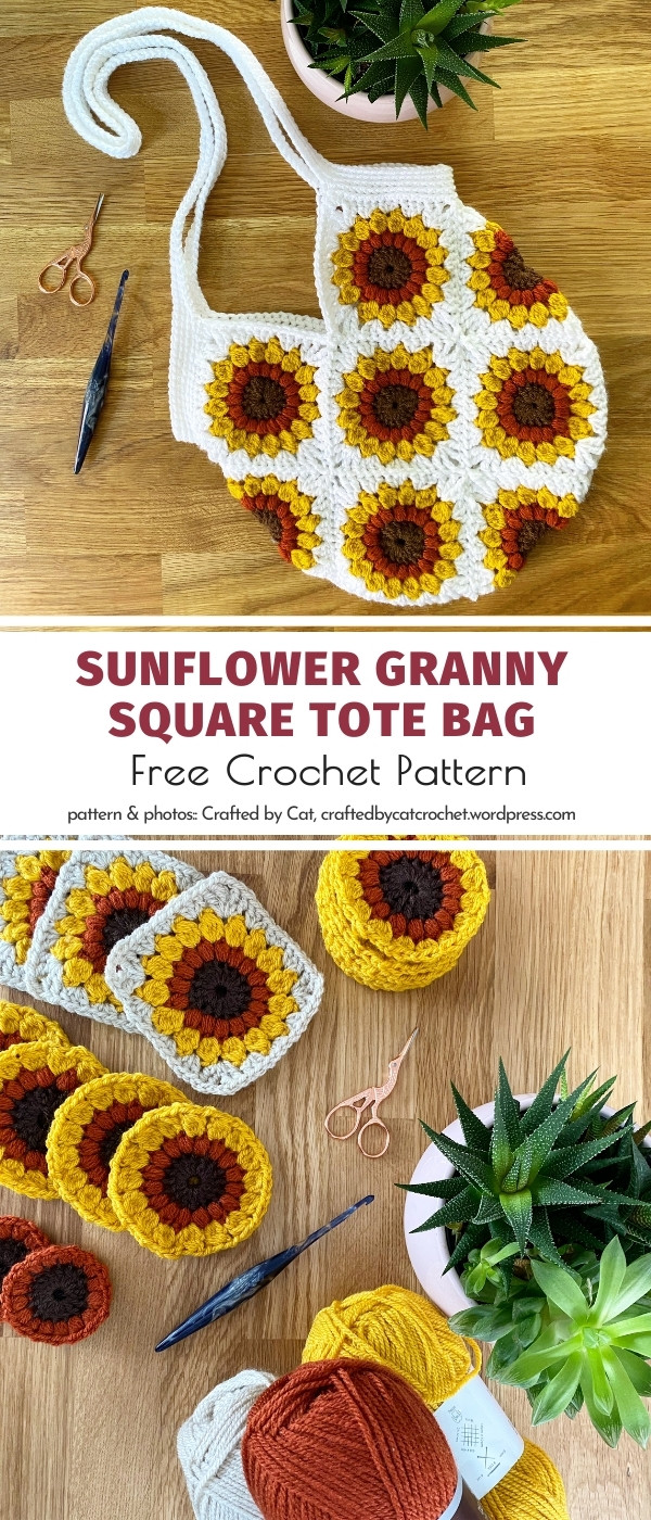 Sunflower granny square tote bag
