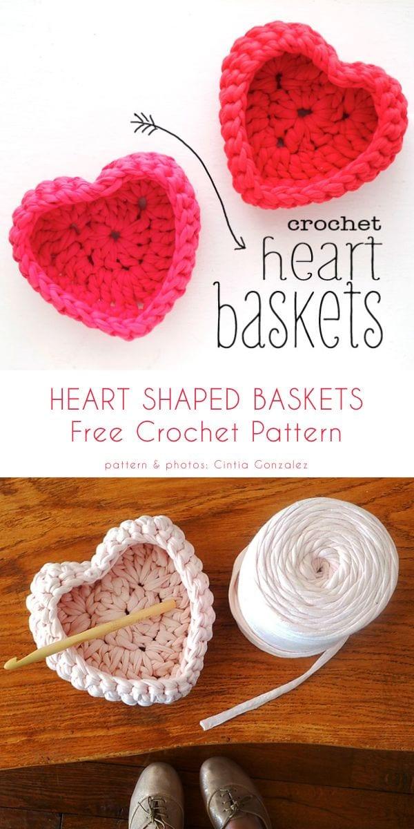 Valentine's Day Crochet Baskets