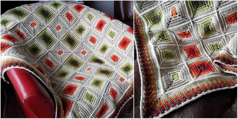 Retro Squares Blanket Free Crochet Pattern