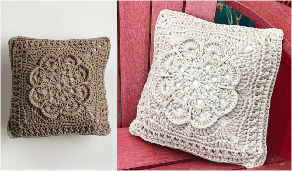 Textured Flower Pillow Free Crochet Pattern