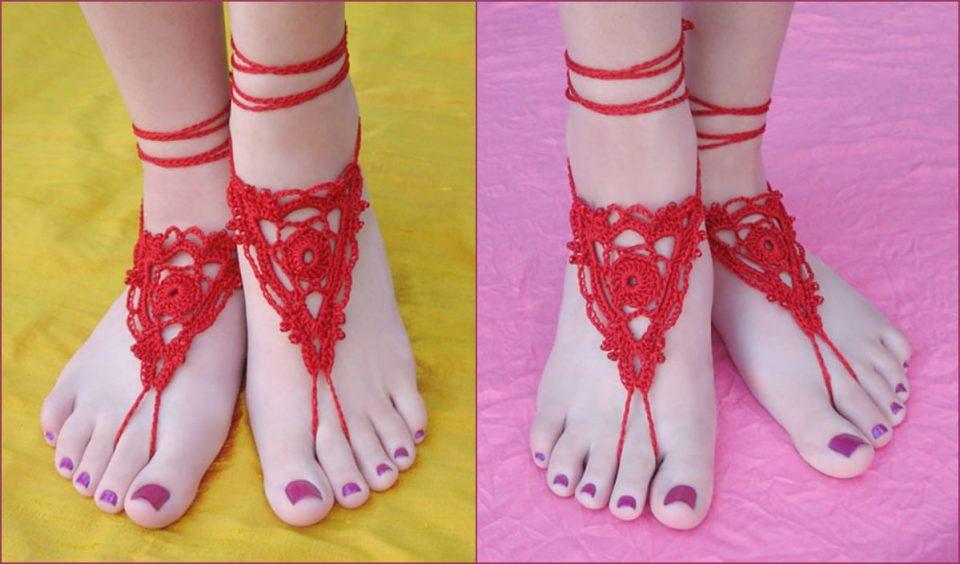 Goddness Barefoot Sandals Free Crochet Pattern