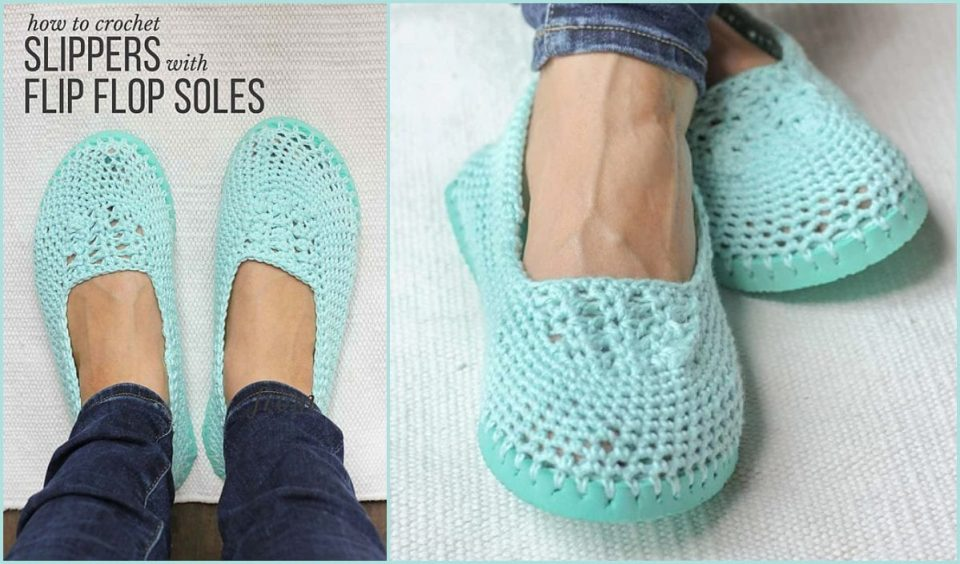 Slip-on Shoes with Flip Flop Soles Free Crochet Pattern