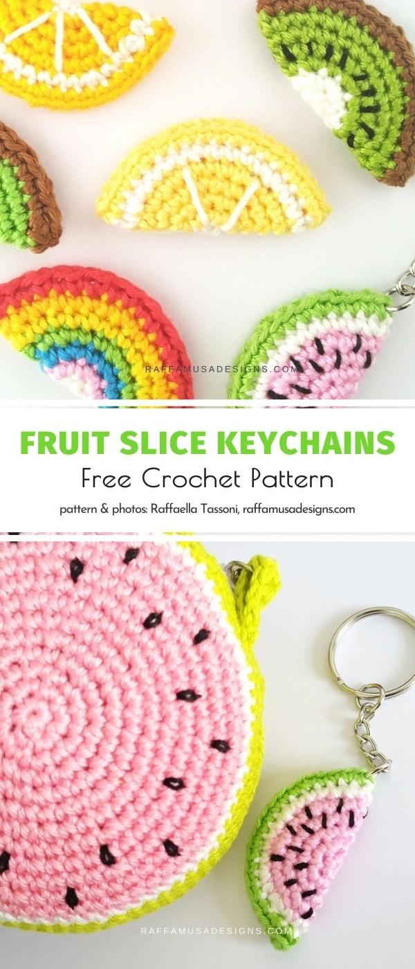 Crochet Fruit Slice Keychains