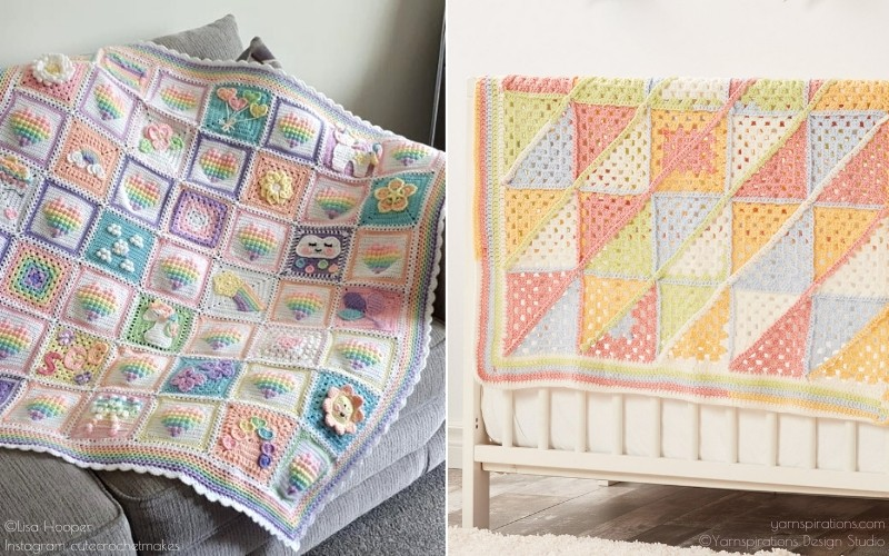 Pastel Squares Crochet Baby Blankets