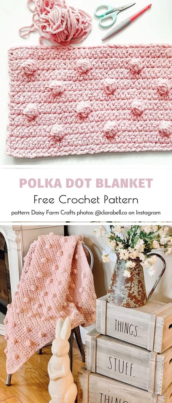 Polka Dot Crochet Blanket