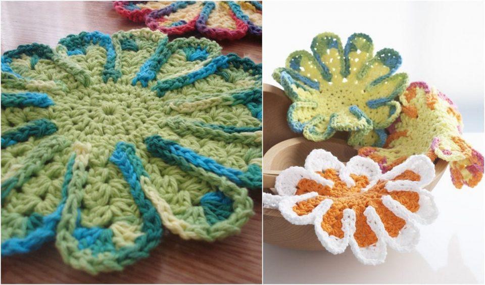 Chrysanthemum Dishcloth Free Crochet Pattern