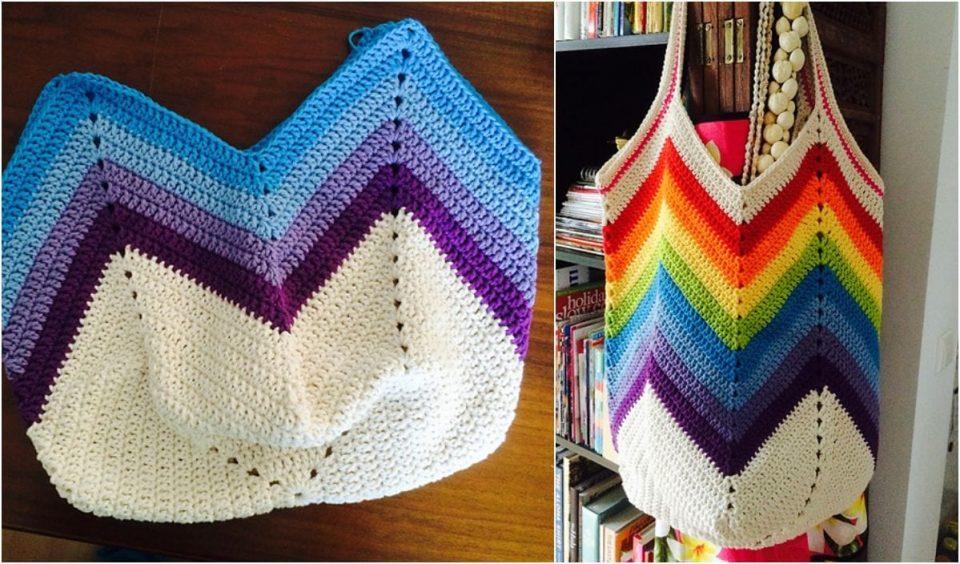 Solid Granny Square Bottom Bag Free Crochet Pattern