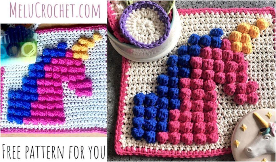 Unicorn Bobble Stitch Square Face Cloth Free Crochet Pattern
