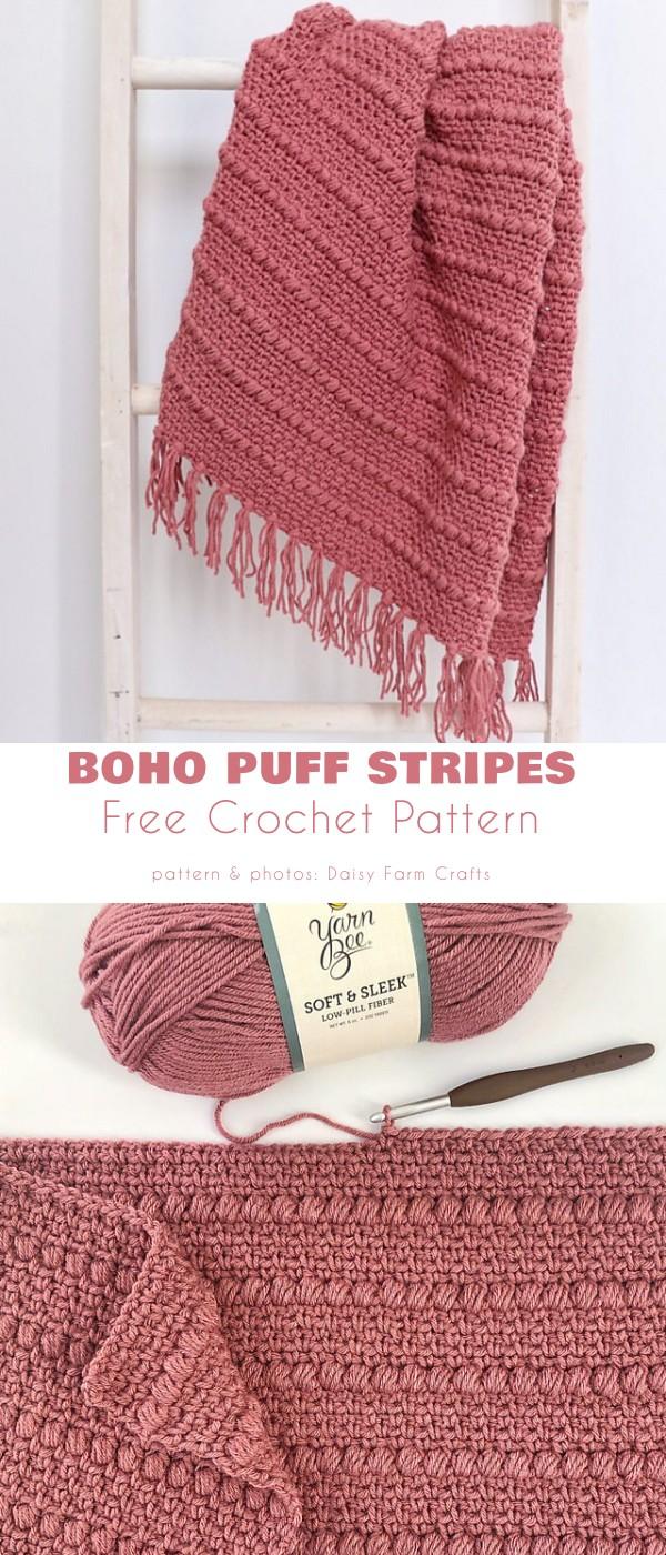Boho Puff Stripes Blanket