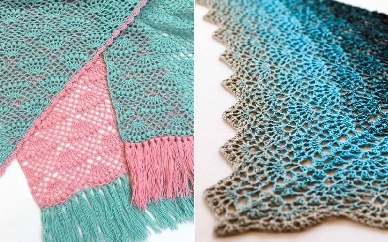 classy fan stitch shawls