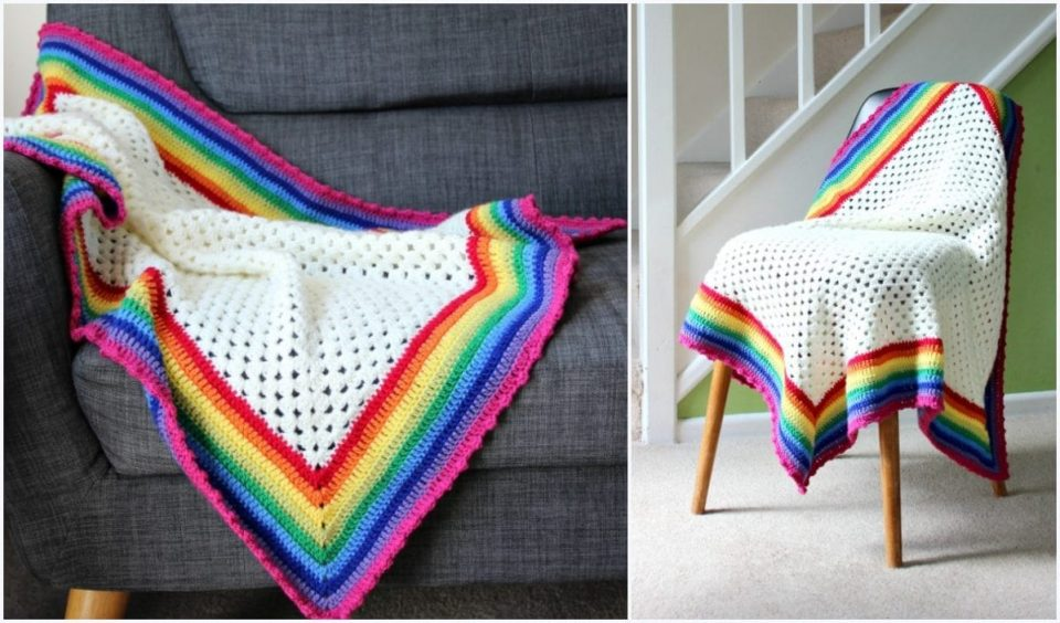 Rainbow Edged Granny Square Baby Blanket Free Crochet Pattern