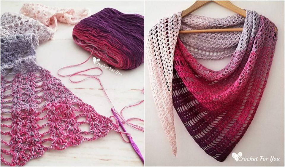 Shell and Lace Shawl Free Crochet Pattern