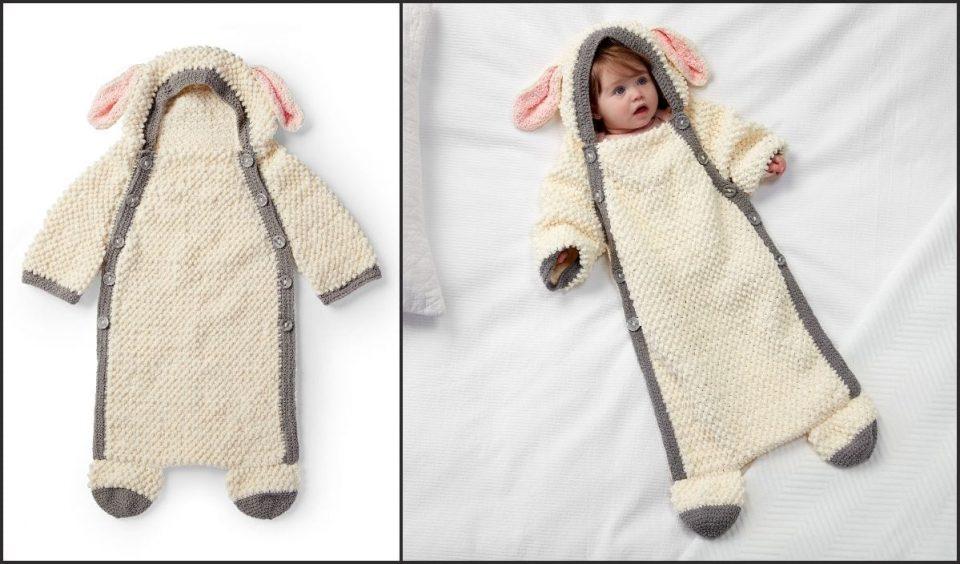 Yawn the Sheep Snuggle Sack Free Crochet Pattern