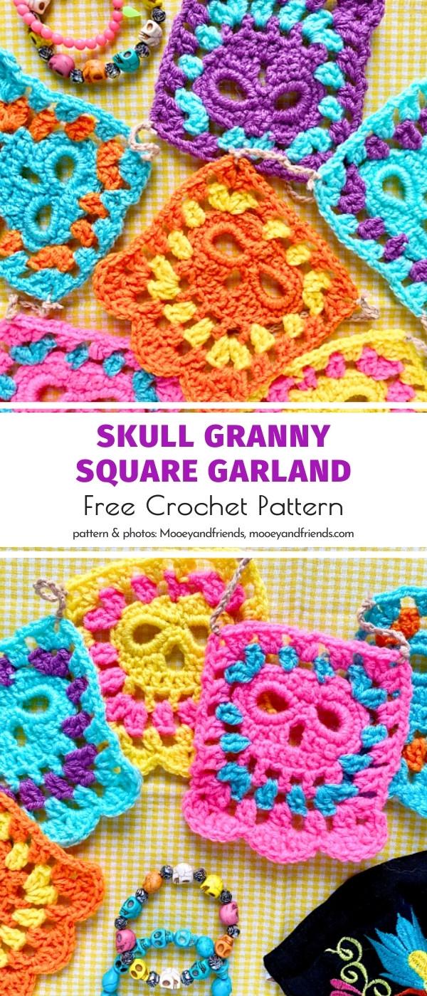 Crochet Skull Granny Square Garland