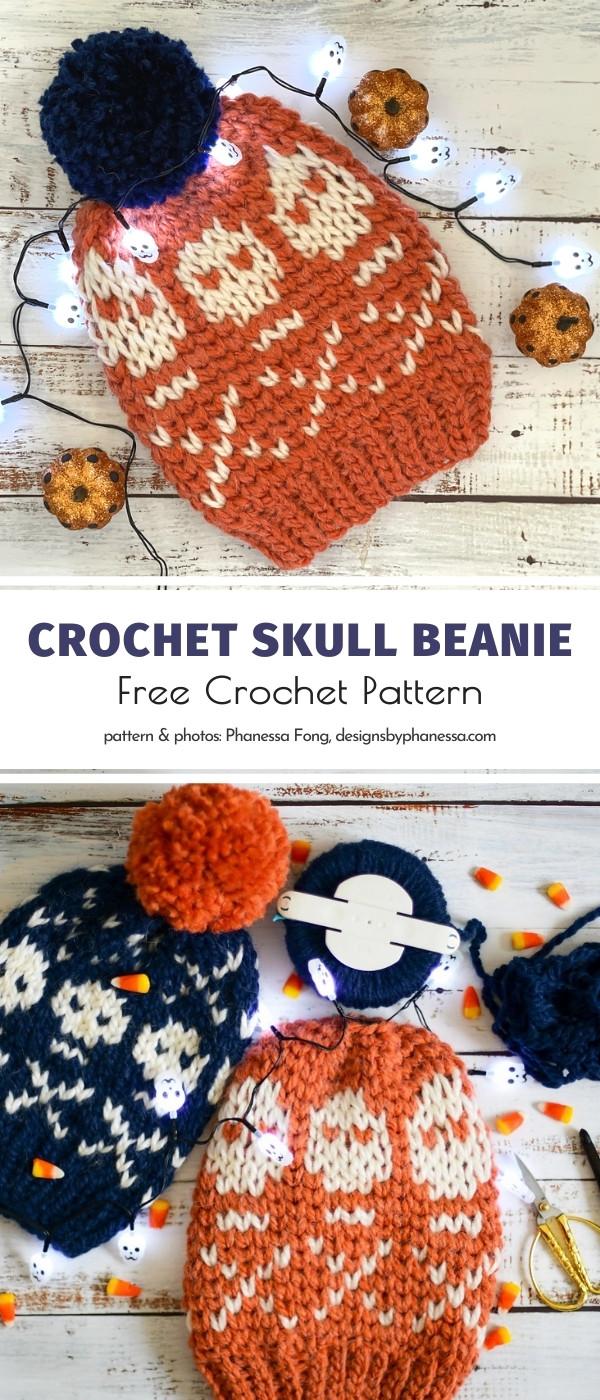 Crochet Skull Beanie