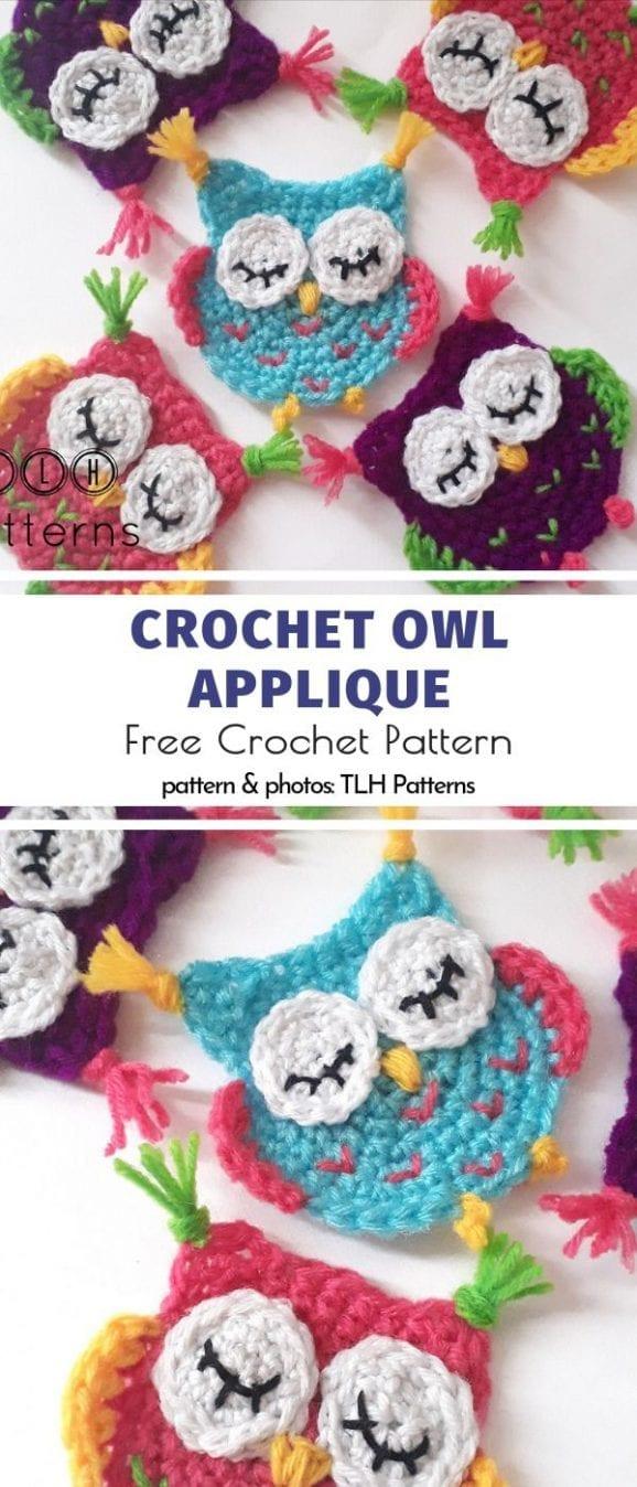 Crochet Owl Applique Free Pattern