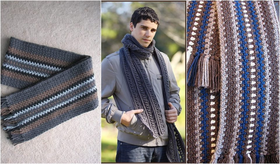 Gentelemen's Scarf Free Crochet Pattern