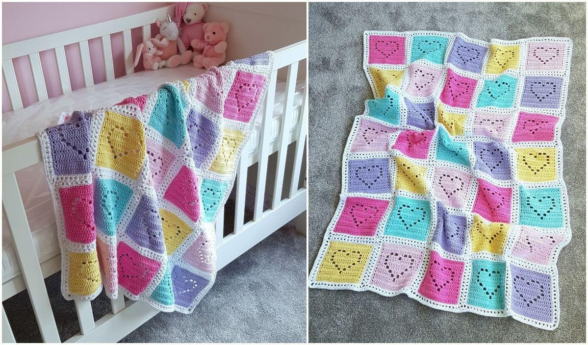 1 heart blanket free crochet pattern