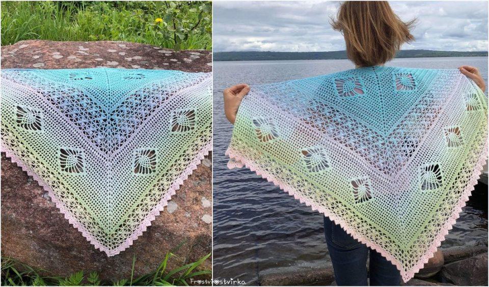 Sunset Orchid Shawl Free Crochet Pattern