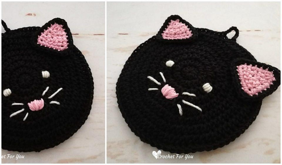Black Cat Potholder Free Crochet Pattern