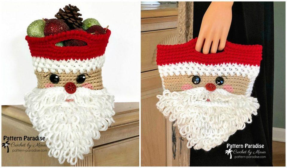 Santa Basket or Bag Free Crochet Pattern