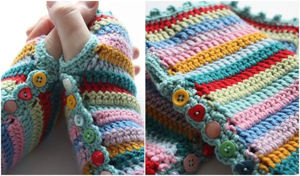Stripy Mitts Free Crochet Pattern
