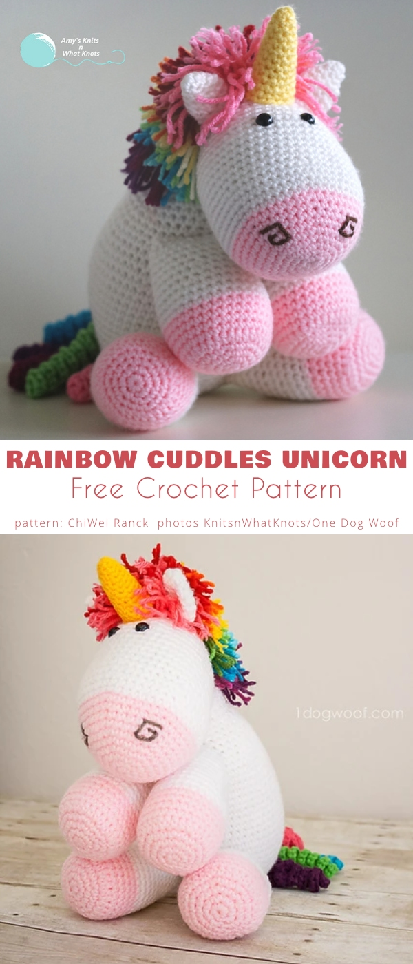 Rainbow Cuddles Crochet Unicorn