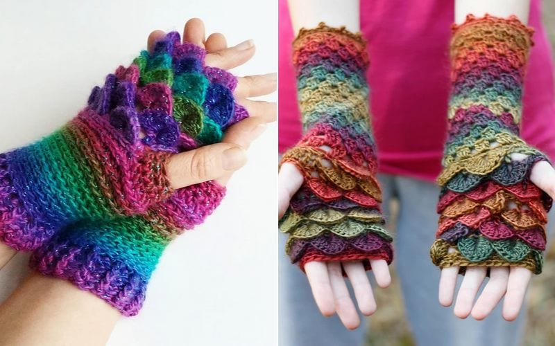 Dragon Scale Fingerless Mitts