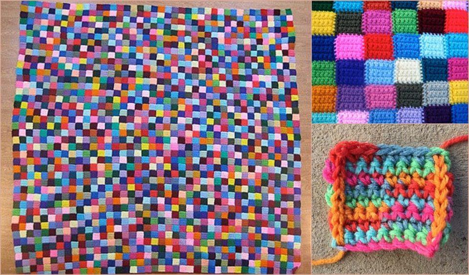 Bauhaus Block Blanket Free Crochet Pattern