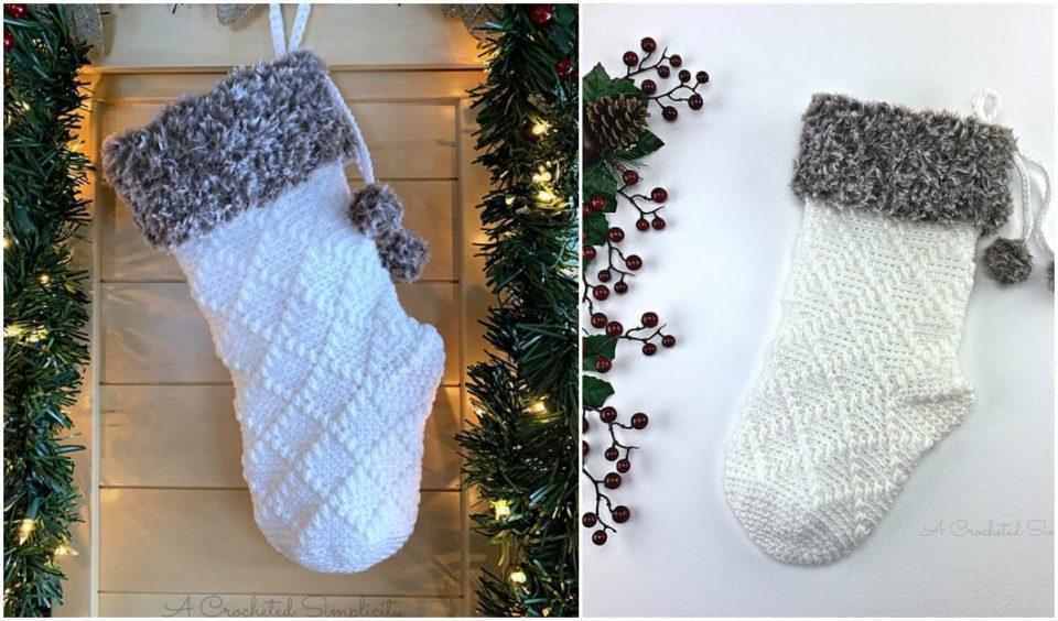 Diamonds & Fur Christmas Stockings Free Pattern