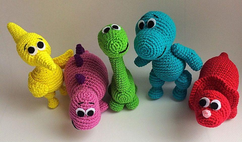 Rainbow Dinosaurs Free Crochet Pattern