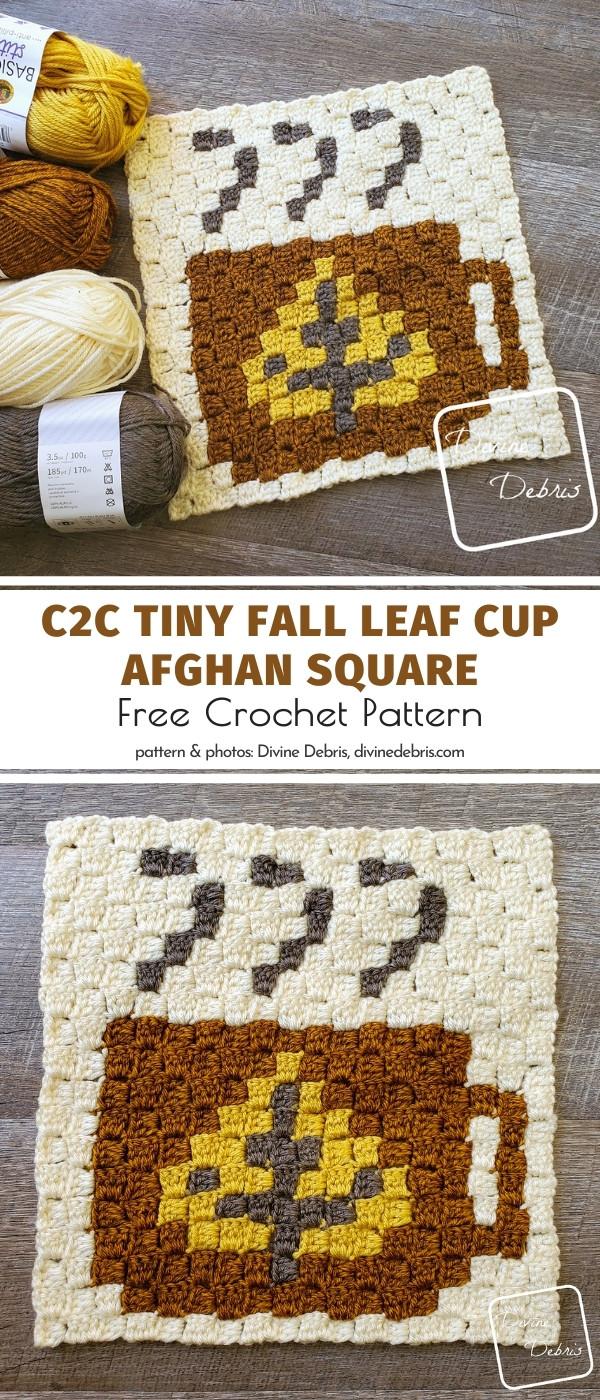 C2C Leaf Cup Afghan Square
