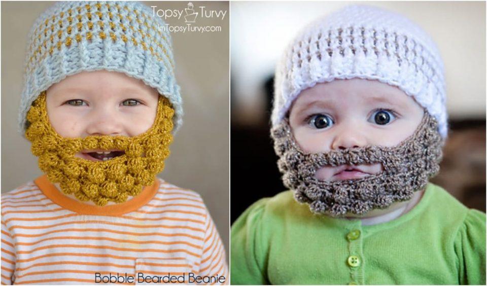 Bobble Bearded Beanie Free Crochet Pattern