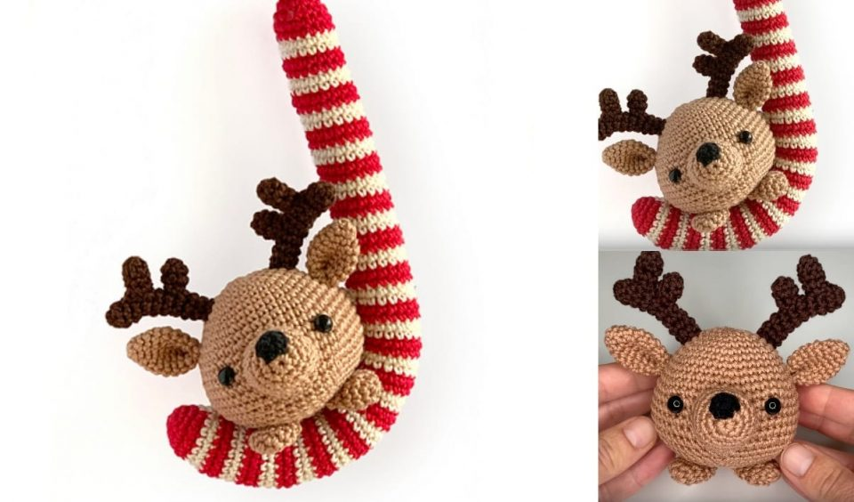 Candy Cane and Reindeer Christmas Ornament
