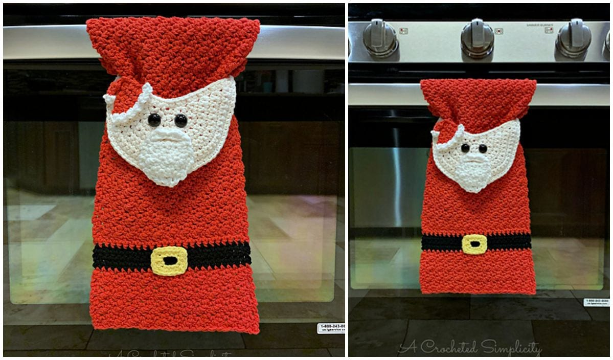 Christmas Themed Kitchen Towel Free Crochet Patterns