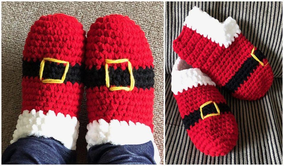 Santa Slippers for All Free Crochet Patterns