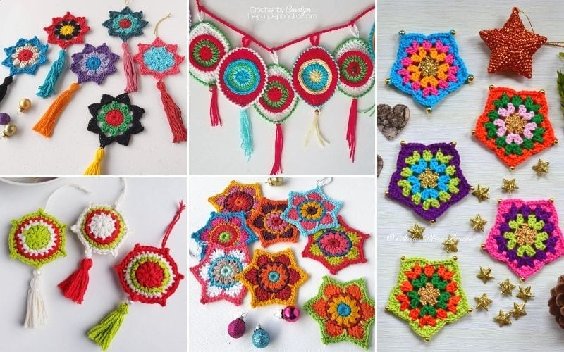 Colorful Ornaments in Boho Style Free Crochet Patterns