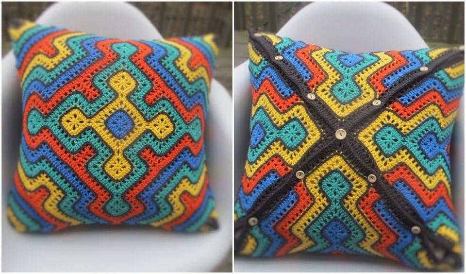 Africa Blanket Pillow CAL Free Crochet Pattern