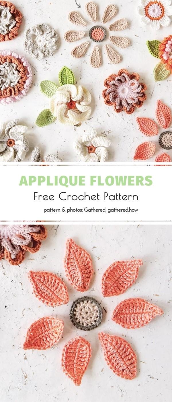 Crochet Applique Fowers