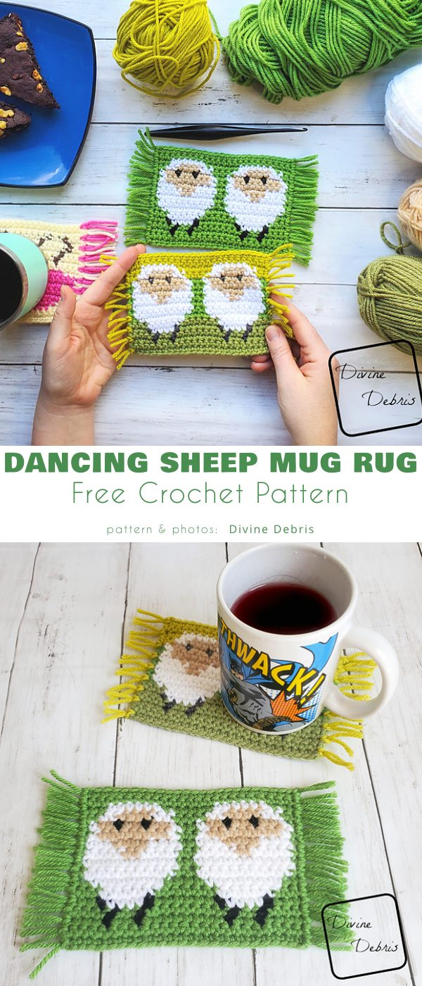 Dancing Sheep Mug Rug