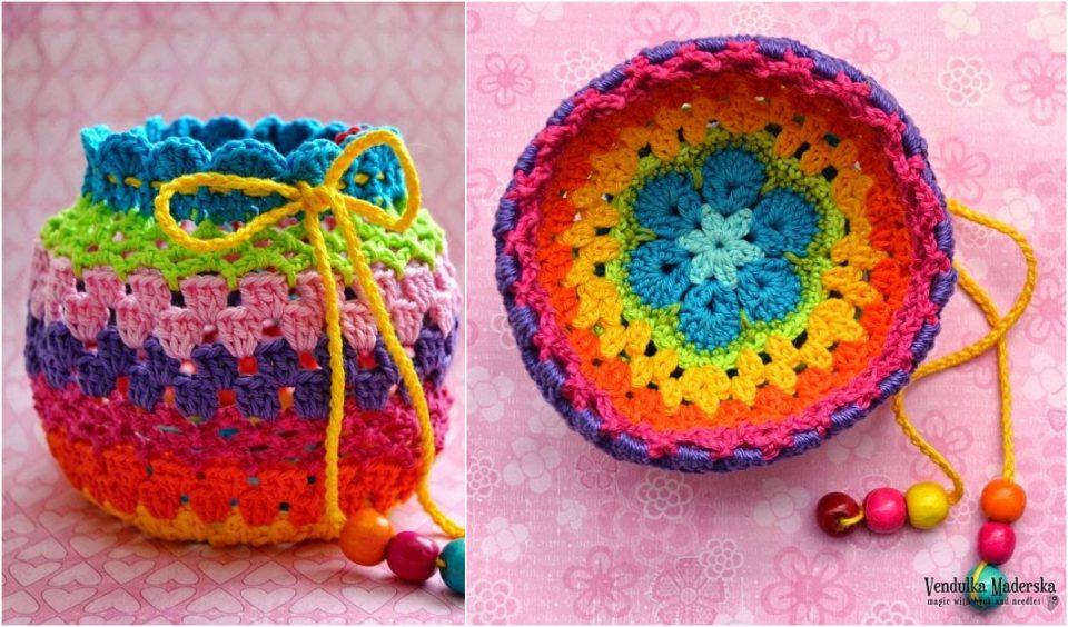 Rainbow purse free crochet tutorial