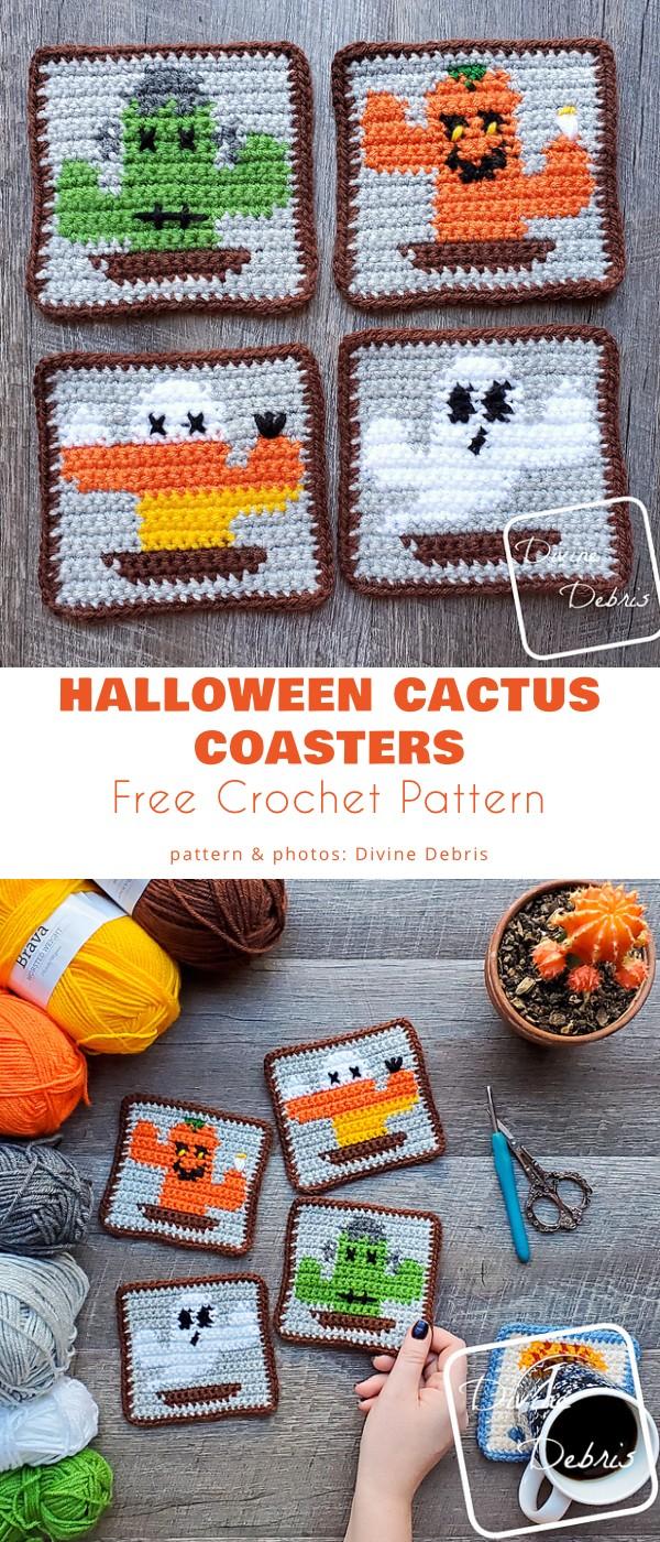 Halloween Cactus Coasters