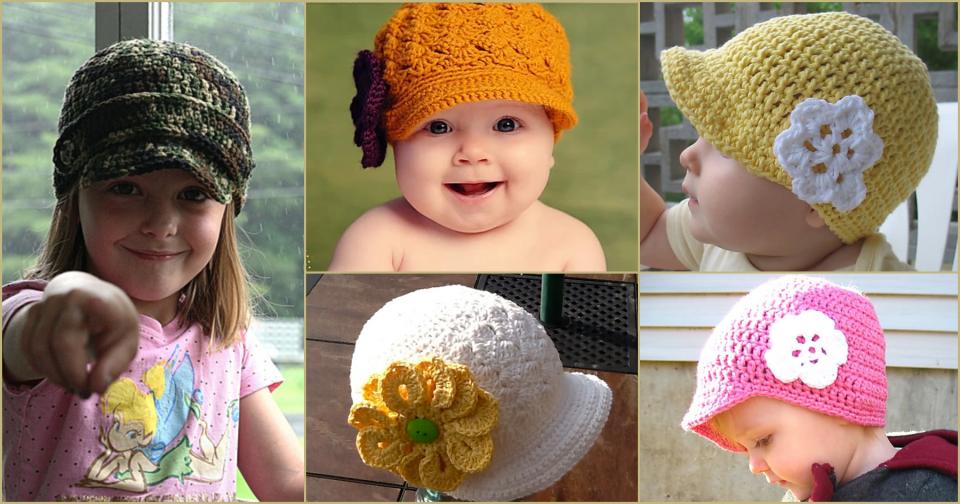 Kids Newsboy Hat Crochet Bonnet