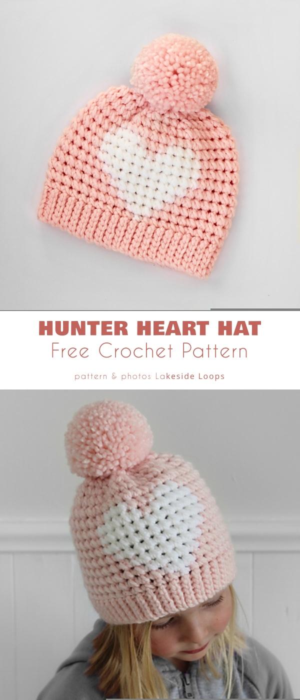 Hunter Crochet Heart Hat