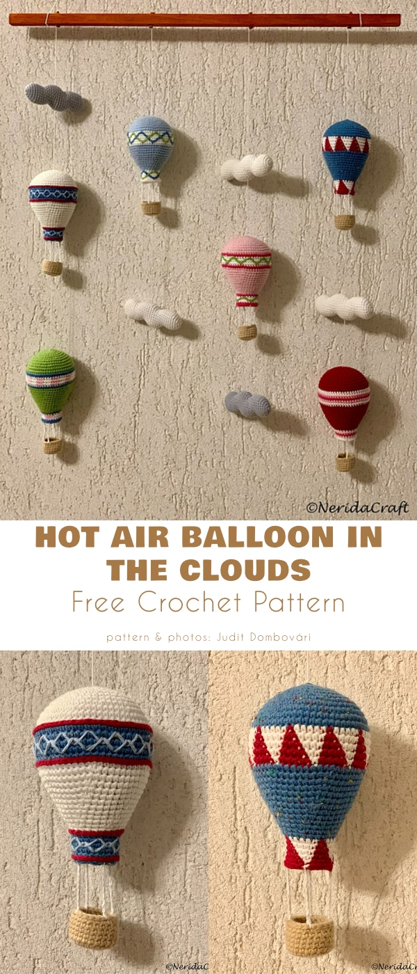 Hot Air Balloon in the cloud free crochet pattern