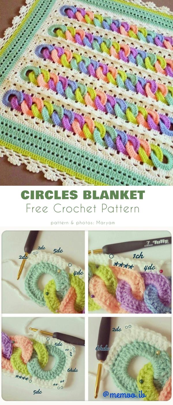 Circles Blanket Free Crochet Pattern