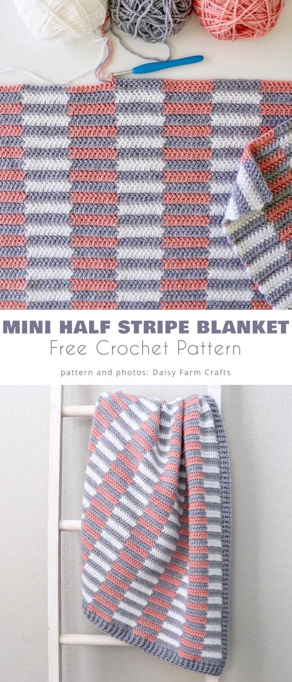 Mini Half Stripe Baby Blanket