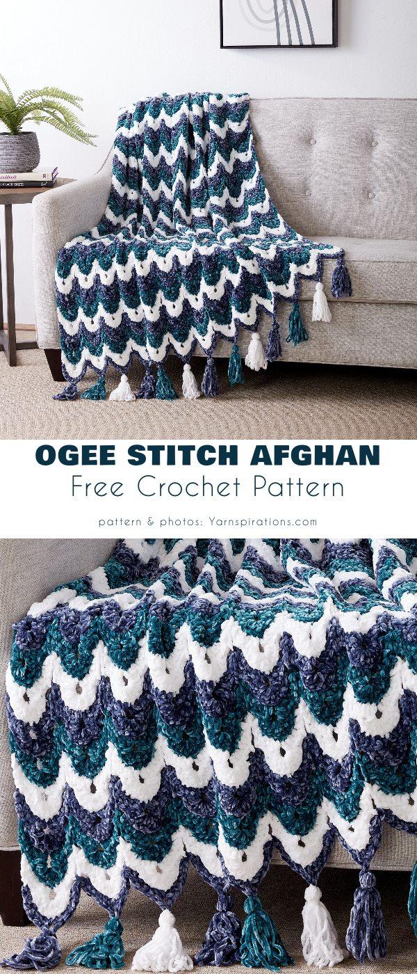 Ogee Stitch Afghan Free Crochet Pattern