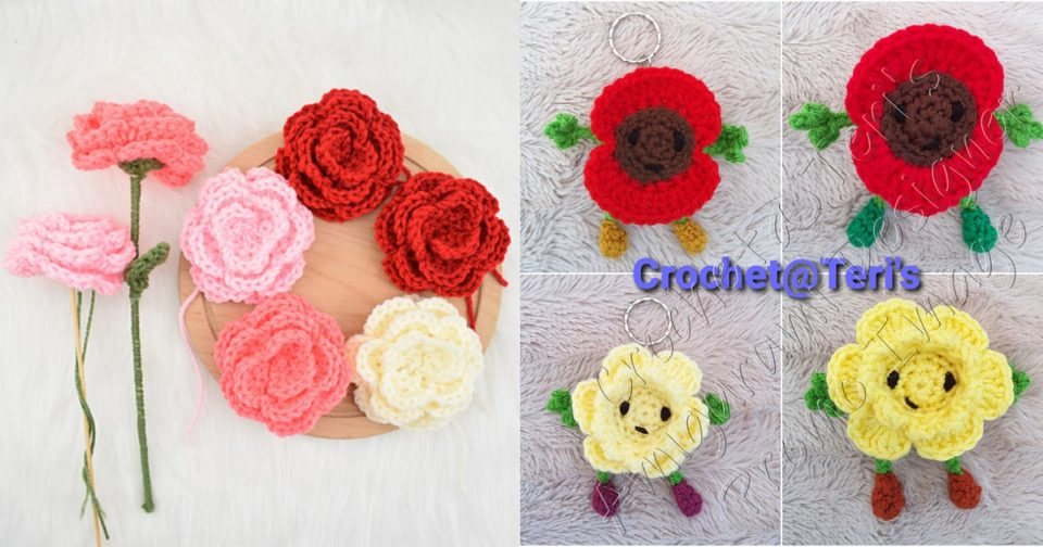 Crocheted flowers free patterns